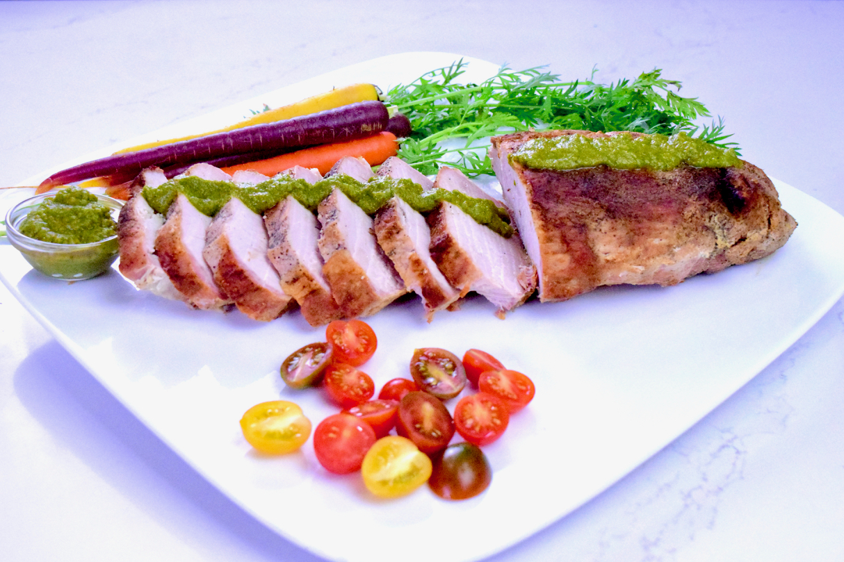 Roasted Pork Loin with Cilantro Sauce