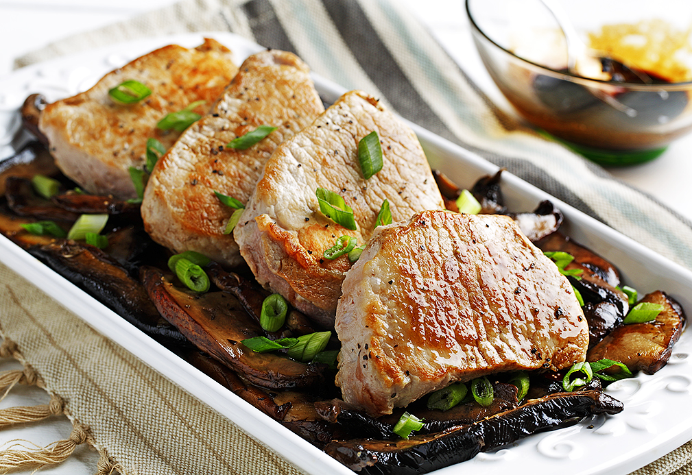 Photo Credit to https://www.canolainfo.org/recipes/pork-loin-chops-with-sweet-balsamic-mushrooms