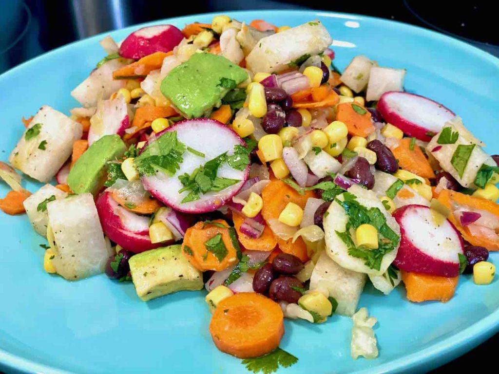 prebiotic and probiotic bean and veggie salad