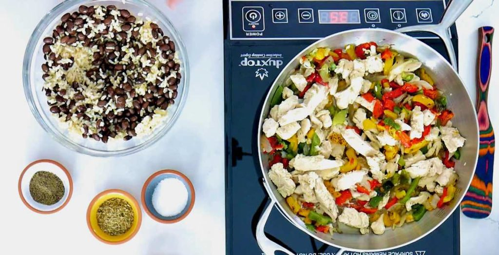 Chicken fajitas with rice and black beans